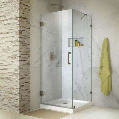 Unidoor Lux 30 in. x 30 in. x 72 in. Frameless Hinged Corner Shower Enclosure in Brushed Nickel