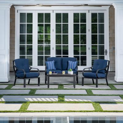 Norman 4-Piece Aluminum Deep Seating Patio Conversation Set with Blue Cushions
