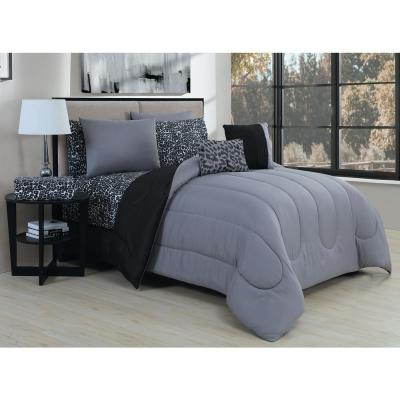 Animal 7-Piece Grey/Black Twin Bed in a Bag Set