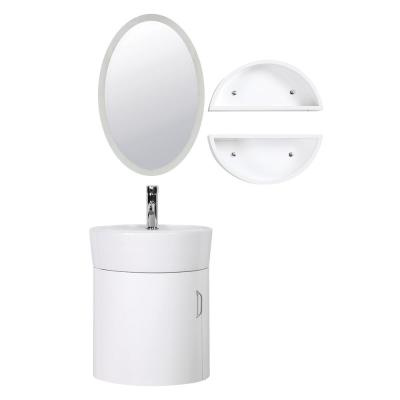 Carina 18 in. W x 16 in. D Floating Vanity in White with Vitreous China Vanity Top in White with Side Shelves and Mirror
