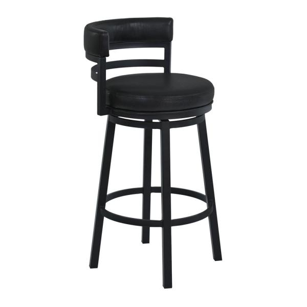 Armen Living Titana 26 in. Counter Height Metal Swivel Bar Stool in Ford Black Pu and Black Finish