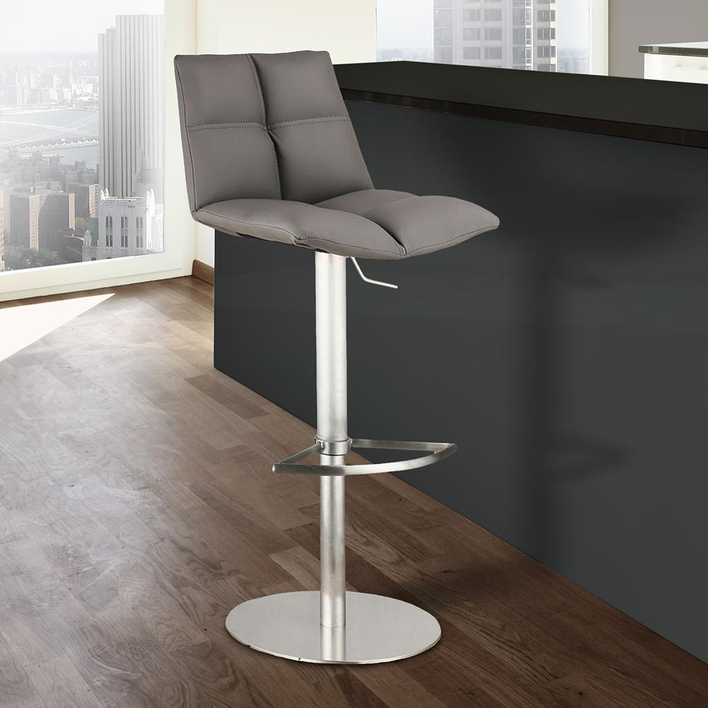 Armen Living Roma 33 In. Gray Faux Leather And Brushed Stainless Steel  Finish Adjustable Barstool