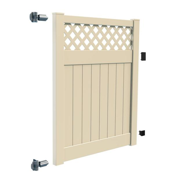 Anderson 5 ft. x 6 ft. Sand Vinyl Lattice Top Fence Gate