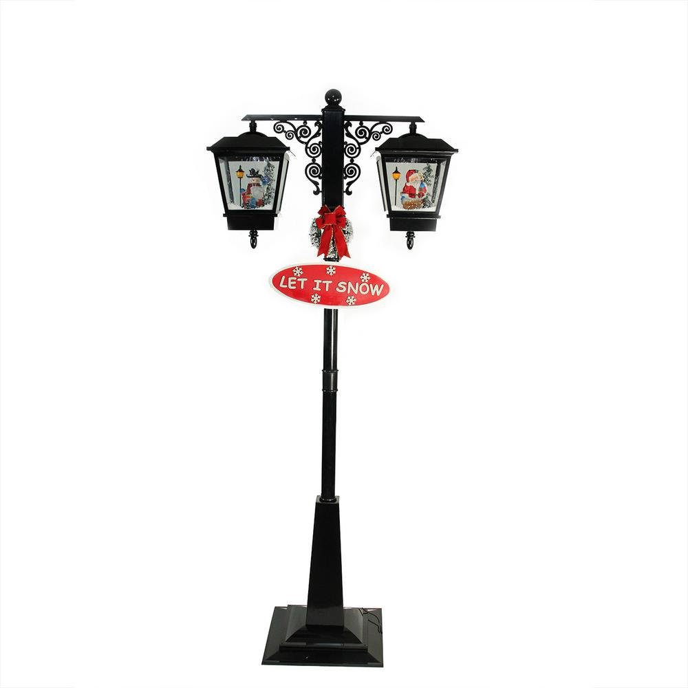 Northlight 74 In Christmas Lighted Black Musical Snowing Santa And Snowman Double Street Lamp 32266717 The Home Depot
