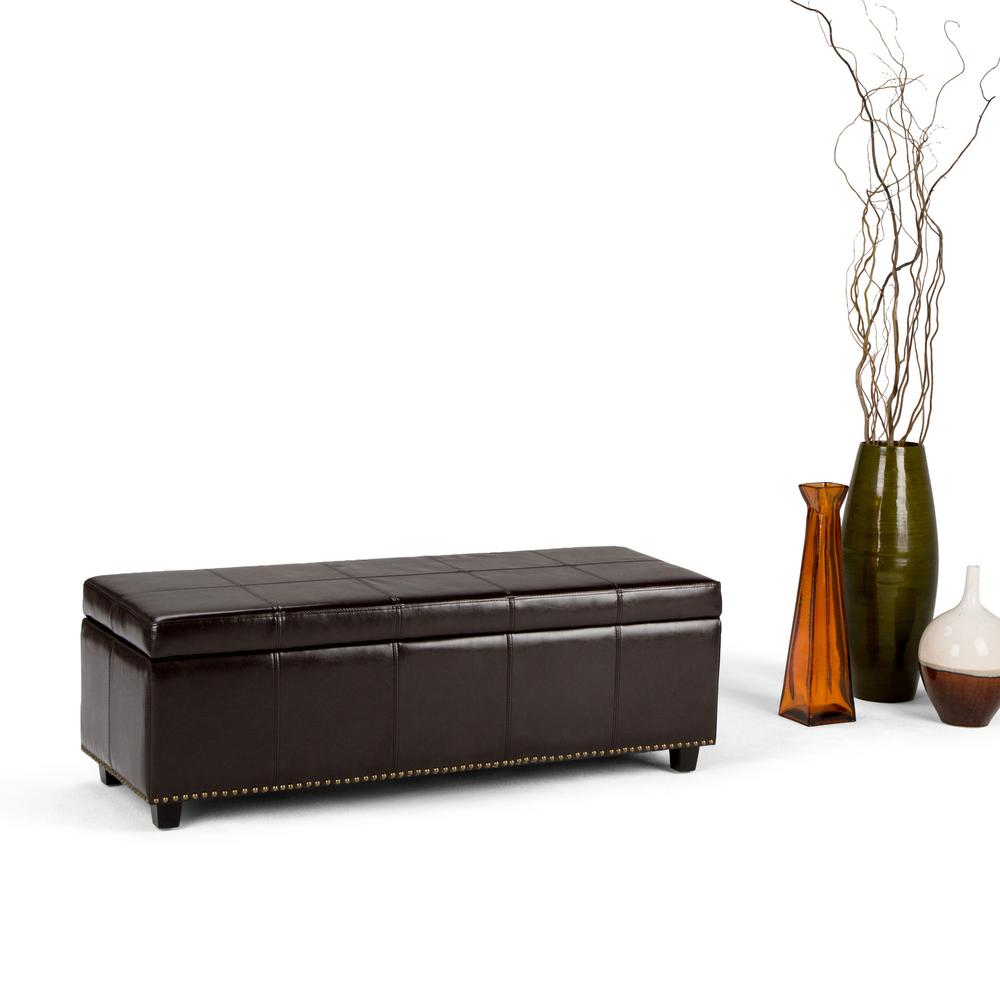 Simpli Home Kingsley Coffee Brown Storage Bench 3axcot 240