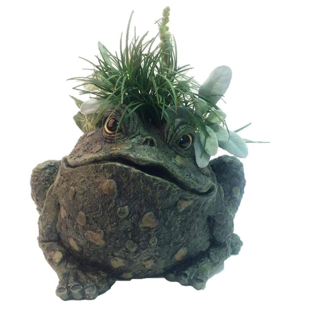 Toad Hollow 10 1 2 In Planter Garden Frog Statue Holds 6 Pot
