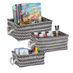 13 in. x 6 in. Black Nestable PP Weave Storage Baskets (3-Pack)