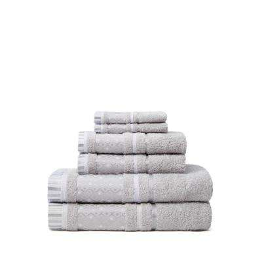 Balio 6-Piece 100% Turkish Cotton Bath Towel Set in Silver