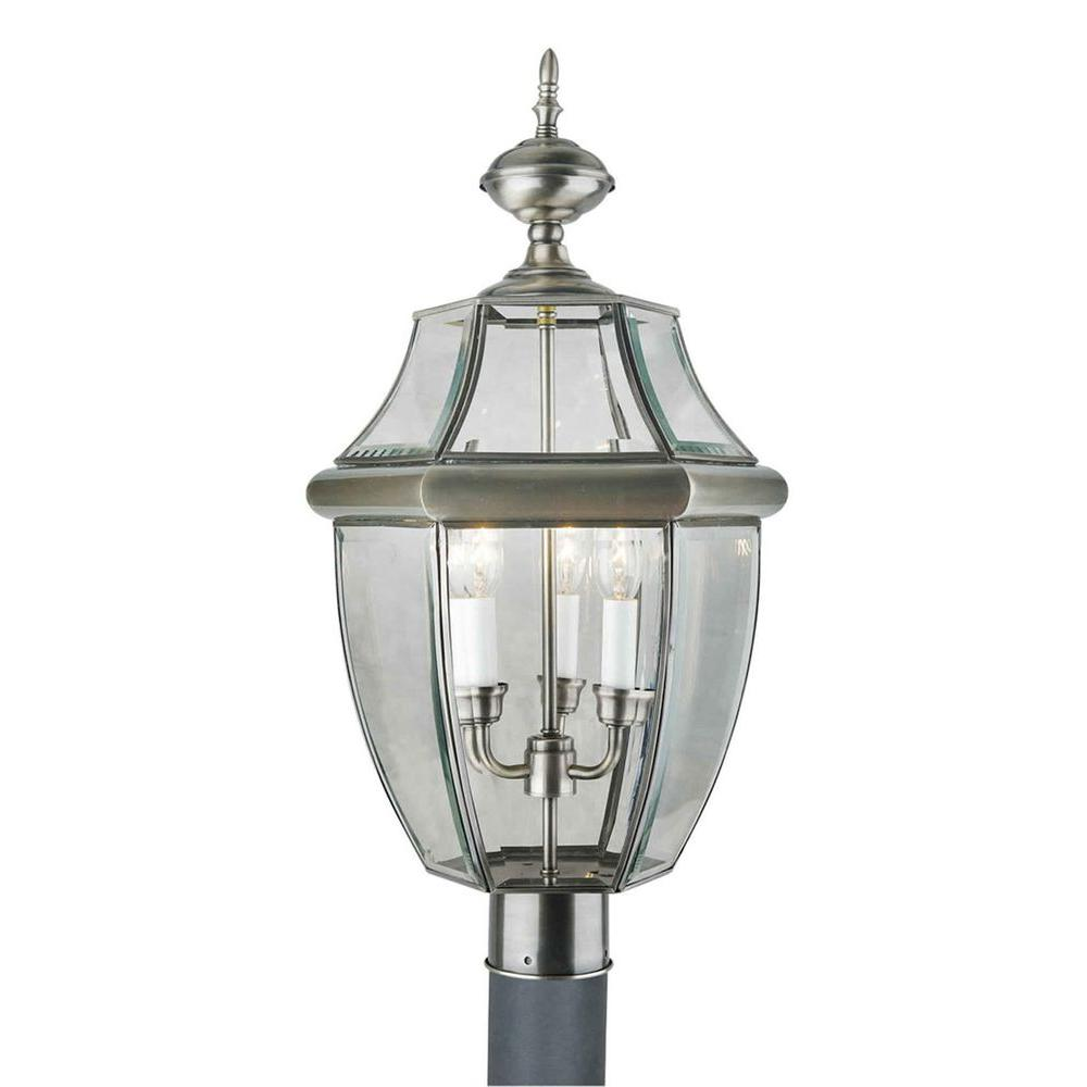 null 3-Light Antique Pewter Outdoor Post Light with Clear Beveled Glass Panels