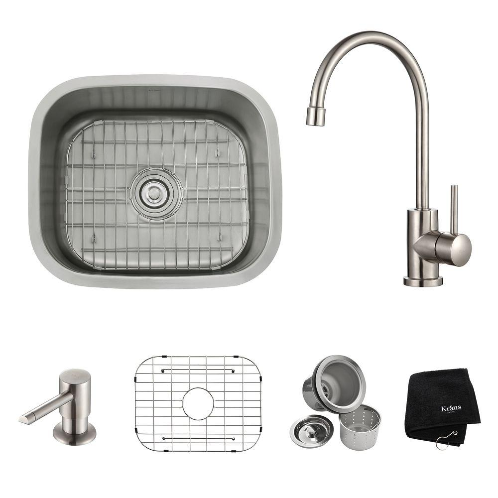 All-in-One Undermount Stainless Steel 21 in. Single Bowl Kitchen Sink with
