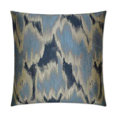 Watermark Blue Feather Down 24 in. x 24 in. Standard Decorative Throw Pillow