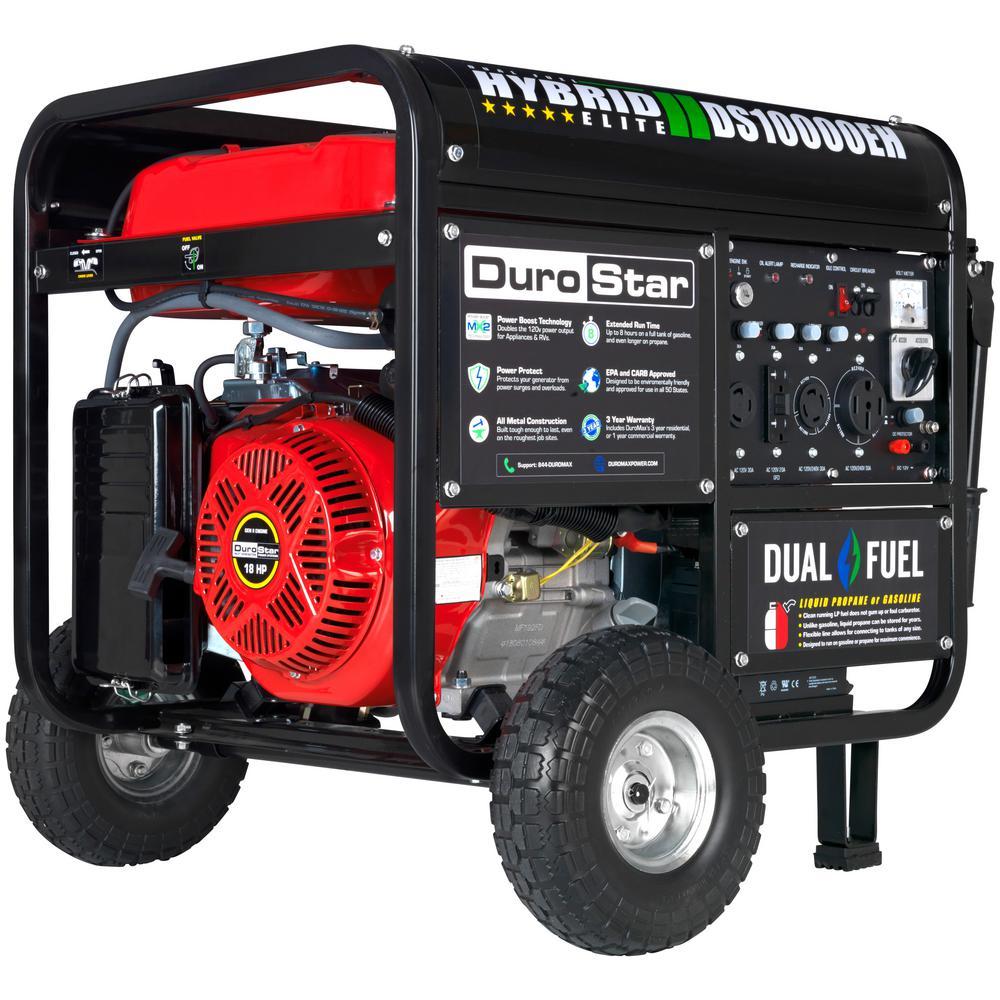 8,000-Watt Electric Start Red Dual Fuel Powered Portable Generator
