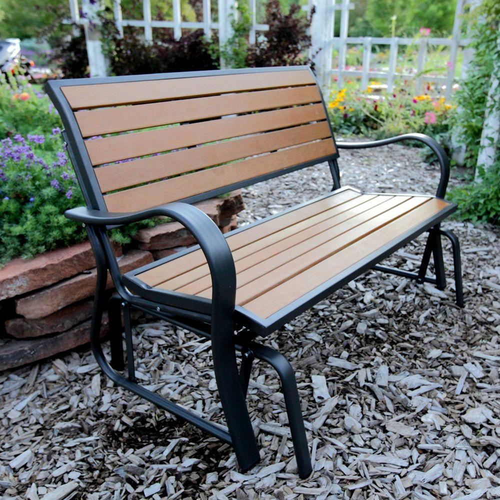 Peachy Lifetime Wood Alternative Patio Glider Bench Gamerscity Chair Design For Home Gamerscityorg
