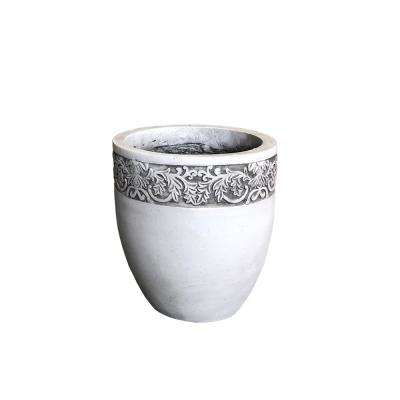 Large 14.17 in. Dia x 15.78 in. H Light Greywash Lightweight Concrete Scroll Embossed Round Planter