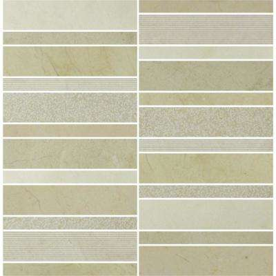 Marble Medley Crema Marfil Random Stacked 12 in. x 12 in. x 7.9 mm Mixed Finish Marble Mesh-Mounted Mosaic Tile