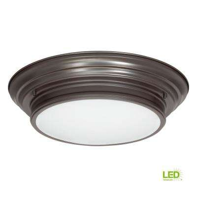 15.25 in. Boundless Collection 17-Watt Antique Bronze Integrated LED Flushmount