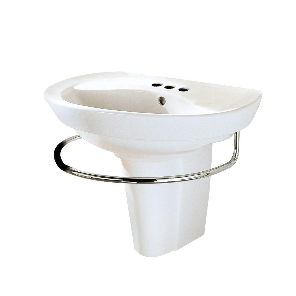 American Standard Ravenna Wall Mounted Pedestal Combo Bathroom Sink In  White 0268.144.020   The Home Depot