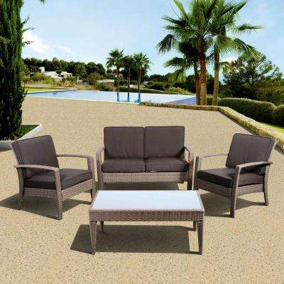 Florida Deluxe 4 Piece All Weather Wicker Patio Conversation Set With Gray  Cushion