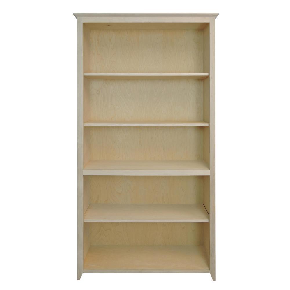 Shaker Style Unfinished 5-Shelf Bookcase