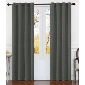 Matelasse 84 inch Gray Polyester Extra Wide Grommet Window Curtain Panel (2-Pack) by
