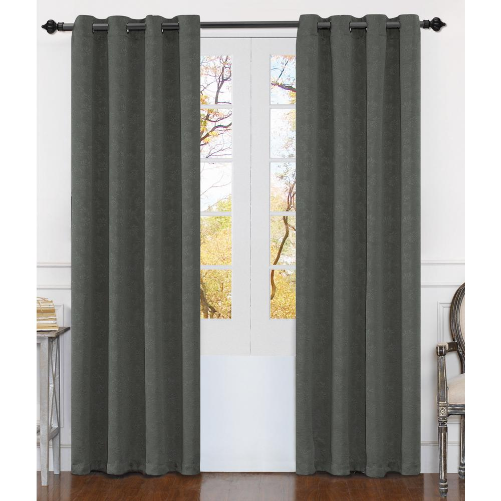 Matelasse 84 in. Gray Polyester Extra Wide Grommet Window Curtain Panel