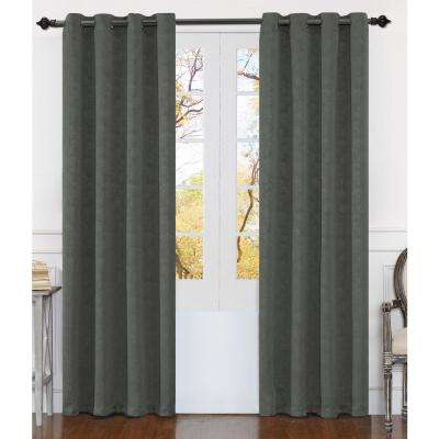 Matelasse 84 in. Gray Polyester Extra Wide Grommet Window Curtain Panel (2-Pack)