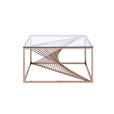 Tralen Brushed Copper and Clear Glass Coffee Table