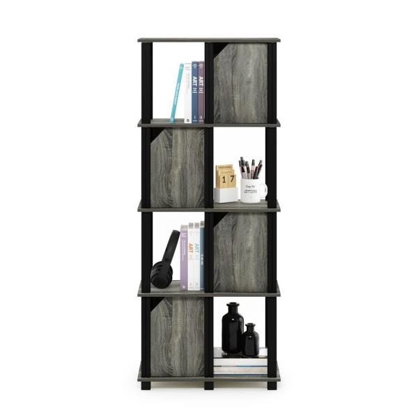 Brahms 57.7 in. French Oak Grey 5-Shelf Etagere Bookcase with 4-Doors