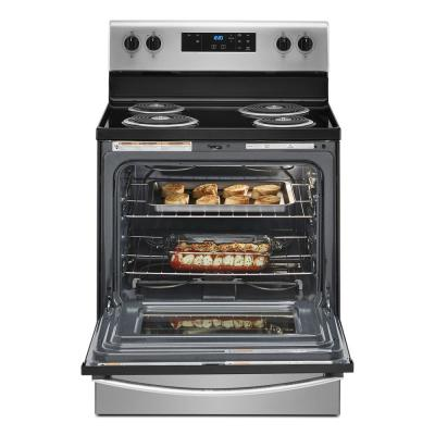 30 in. 4.8 cu.ft. 4-Burner Electric Range with Keep Warm Setting in Stainless Steel with Storage Drawer