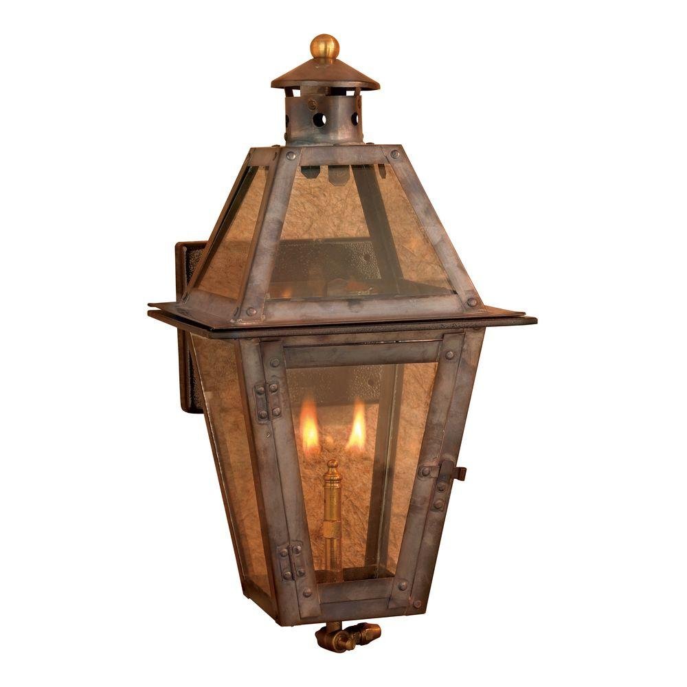An Lighting Maryville 36 In Outdoor Washed Pewter Gas Wall Lantern