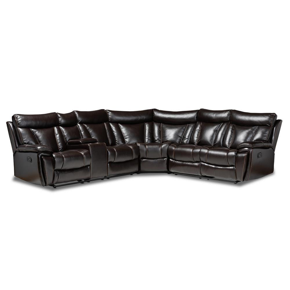 Lewis 6-Piece Brown Faux Leather Sectional