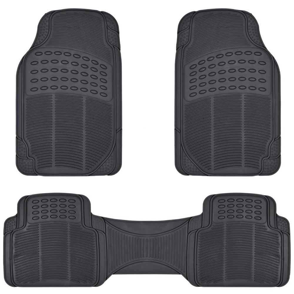 Black Heavy Duty 3-Piece 27 in. x 18 in. Rubber Car