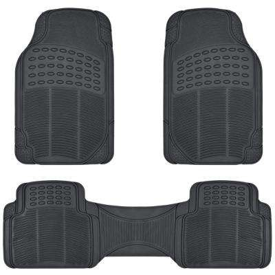 Black Heavy Duty 3-Piece 27 in. x 18 in. Rubber Car Mat