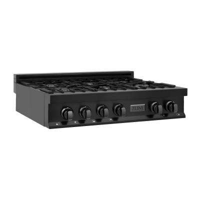 ZLINE 36 in. Porcelain Rangetop in Black Stainless with 6 Gas Burners