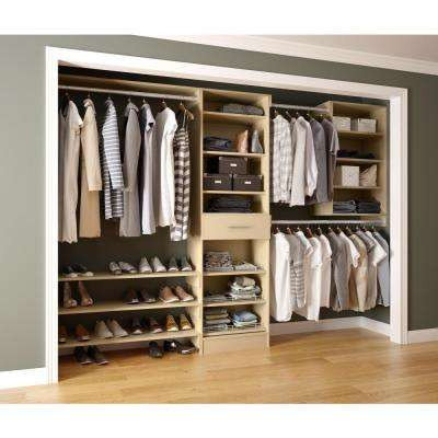 Assembled Reach-In 15 in. D x 120 in. W x 84 in. H Calabria in an Almond Melamine 14-Shelves Closet System