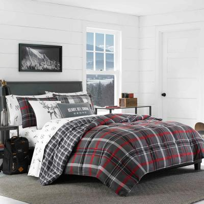 3-Piece Willow Plaid Gray Polyester Full/Queen Comforter Set