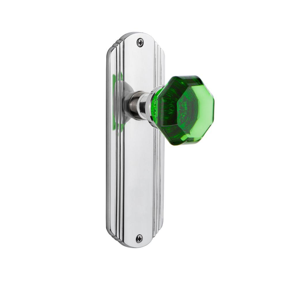 Deco Plate Double Dummy Waldorf Emerald Door Knob in Bright Chrome