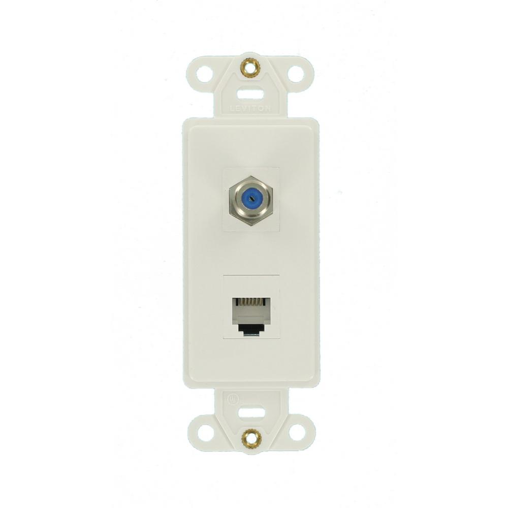 decora quickport 2port insert wall plate white