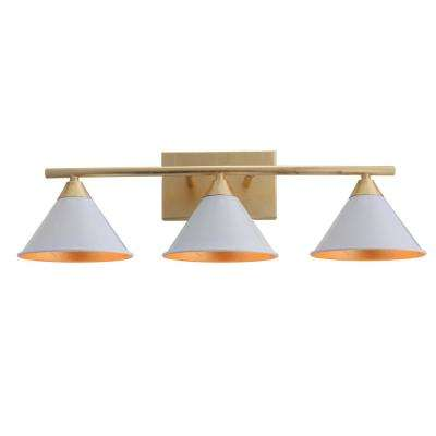 Yvette 25 in. 3-Light White/Gold Metal Vanity Wall Light