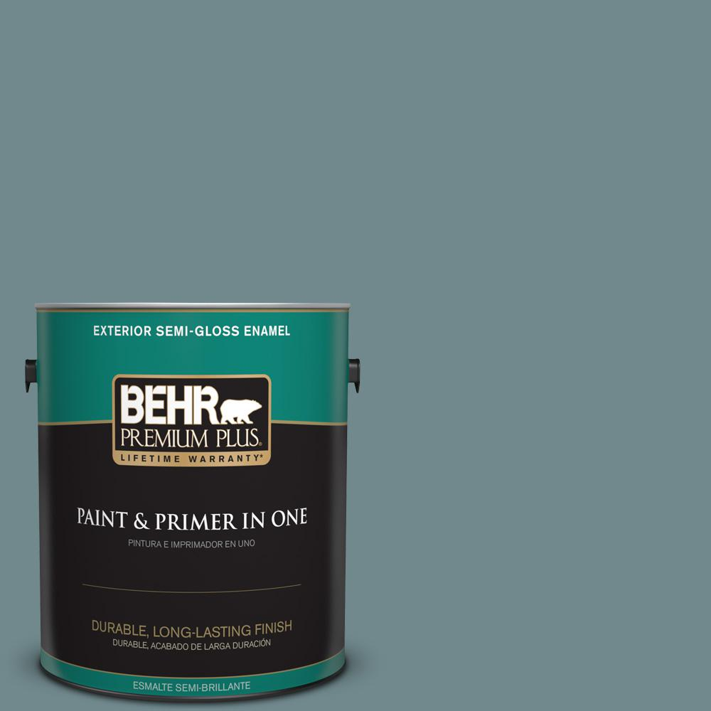 1 gal. #PPU13-06 Polaris Blue Semi-Gloss Enamel Exterior Paint