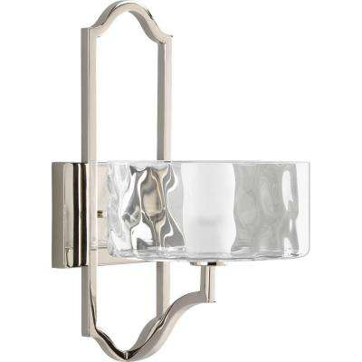 Caress Collection 1-Light Polished Nickel Wall Sconce