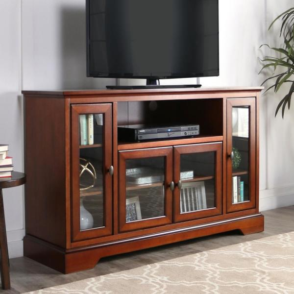 Walker Edison Furniture Company Rustic Brown Wood Highboy TV Media Stand Storage Console