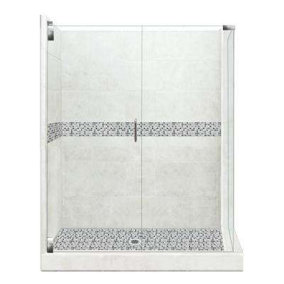 Del Mar Grand Hinged 42 in. x 48 in. x 80 in. Left-Hand Corner Shower Kit in Natural Buff and Chrome Hardware