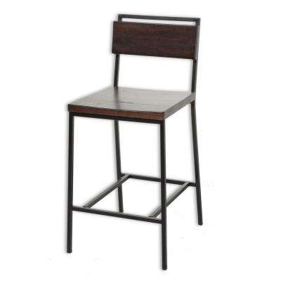 26 in. Olympia Metal Counter Stool with Black Cherry Wooden Seat and Matte Black Finished Frame