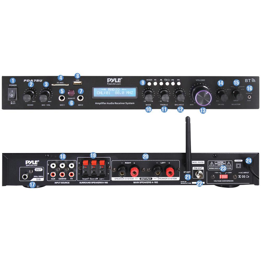Pyle PDA7BU Home Theater Amplifier Audio Receiver Sound System with Bluetooth