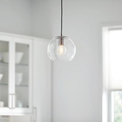 1-Light Satin Steel Mini Pendant with Clear Glass