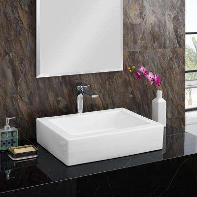 Voltaire Ceramic Rectangle Vessel Sink in White
