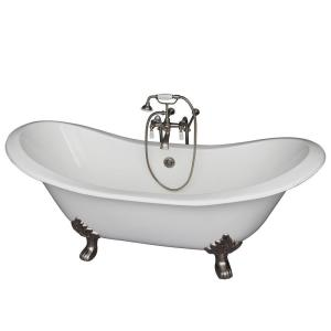Barclay Products 5.9 ft. Cast Iron Lion Paw Feet Double Slipper Tub in White with Brushed Nickel Accessories by Barclay Products