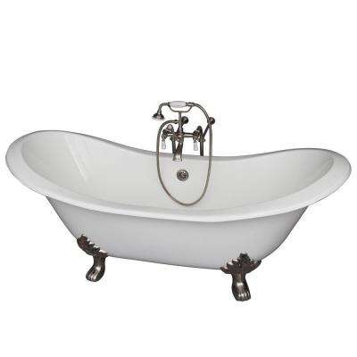 5.9 ft. Cast Iron Lion Paw Feet Double Slipper Tub in White with Brushed Nickel Accessories