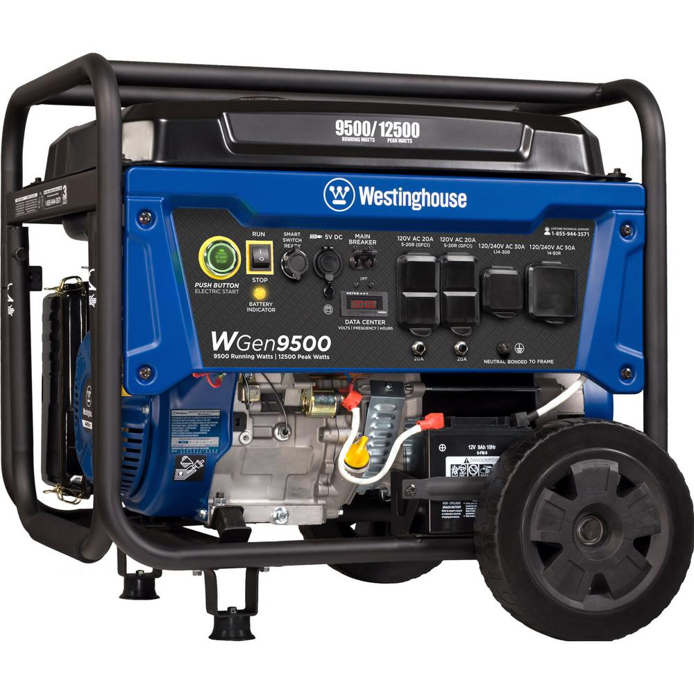 Westinghouse 12.500/9500-Watt Heavy-Duty Gas Powered Transfer Switch Ready Portable Generator with Electric and Remote Start